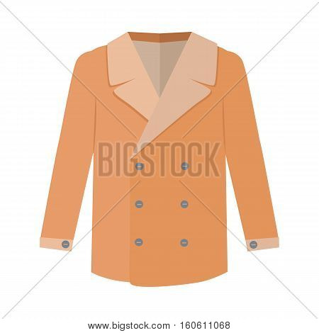 Warm coat with wool collar. Elegant men s outerwear flat vector illustration isolated on white background. Luxury clothing for autumn or winter season and cold weather. For store ad, fashion concept