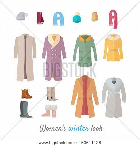 Women s winter look. Set of casual clothing and shoes for cold season. Pants, jacket, sweater, shirt flat vector illustrations isolated on white background. For clothes stores ad, fashion concepts