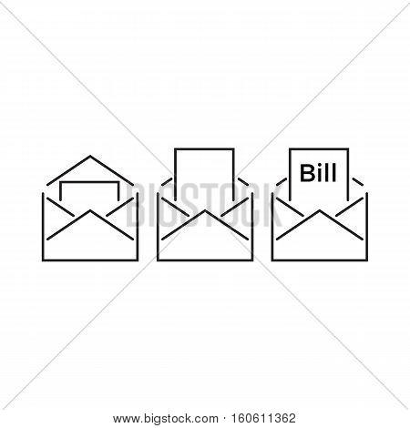 Bills Inside An Envelope . Line Icon Style Vector Illustration Design