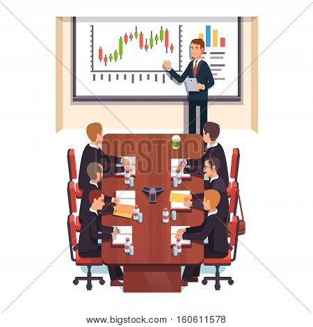 Professional consultant giving a speech to a business people in a conference room. Flat style color modern vector illustration.