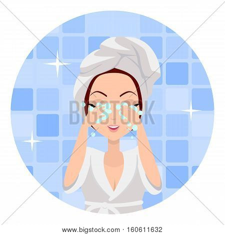 Girl cleaning and care her face, facial, treatment, beauty, healthy, hygiene, lifestyle. Young woman after morning shower in a bathroom. Skin care. Girl in white bathrobe and towel on head