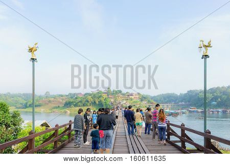 Kanchanaburi Thailand - December 2016 - View of Mon Wooden Bridge Sangklaburi in the morning. on December 3 2016 in Sangkhlaburi District Kanchanaburi Province Thailand.