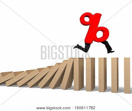 Percentage Sign With Human Legs Running On Falling Wooden Dominos
