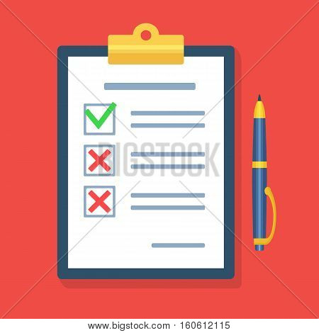 Checklist with a pen.  Questionnaire, survey, clipboard, task list. Icon flat style vector illustration. Filling out forms, planning