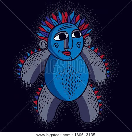 Vector Cute Halloween Character Ogre, Fictitious Creature. Cool Illustration Of Freak Blue Monster.