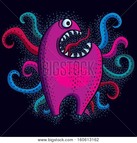 Character Monster Vector Flat Illustration, Crazy Purple Mutant. Drawing Of Weird Beast, Emotional E