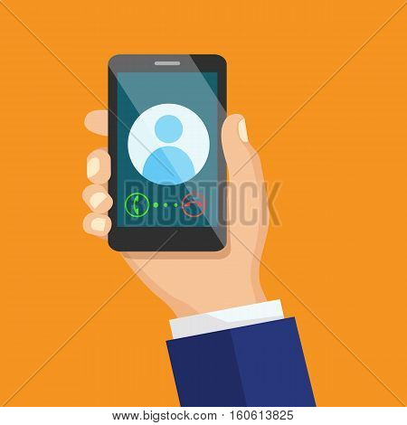 Receiving phone call concept. Dialling, calling on the mobile phone. Hand holding smart phone in modern flat style design.