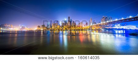 cityscape and skyline of chongqing new city at twilight