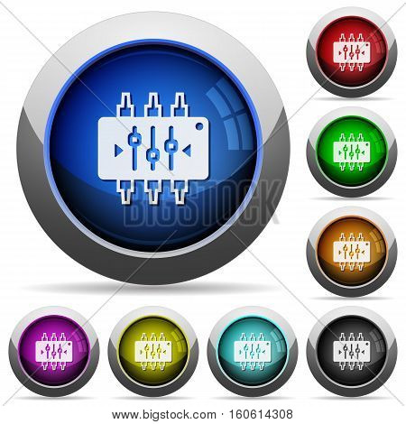 Chip tuning icons in round glossy buttons with steel frames