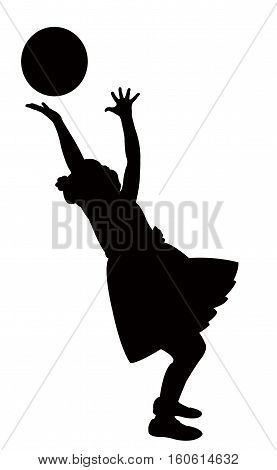 girl playing with balloon, black color silhouette vector