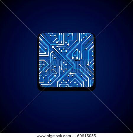 Vector Technology Cpu Design With Square Blue Luminescent Microprocessor Scheme. Computer Circuit Bo