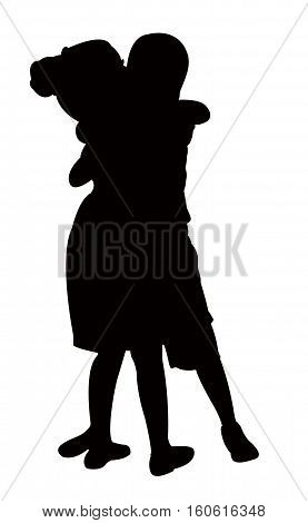 two friends hugging, silhouette vector art work