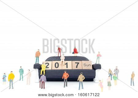Crowd Of People With Wooden Block Word 2017  On White Background
