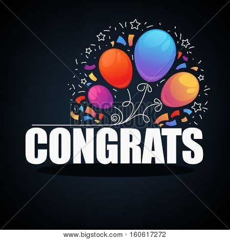 Congratulations banner with balloons confetti and text Congrats.