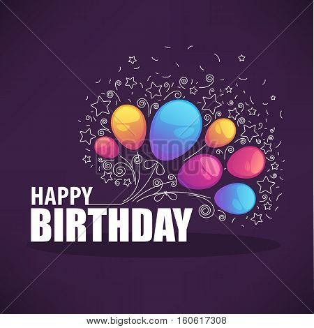 glossy and shine birthday card vector templatewith balloon images and happy birthday lettering composition