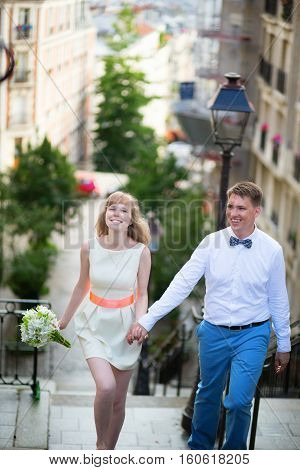 Happy Young Newly-wed Couple On Montmartre