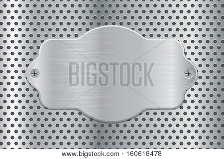 Metal plate on perforated background. Vector illustration