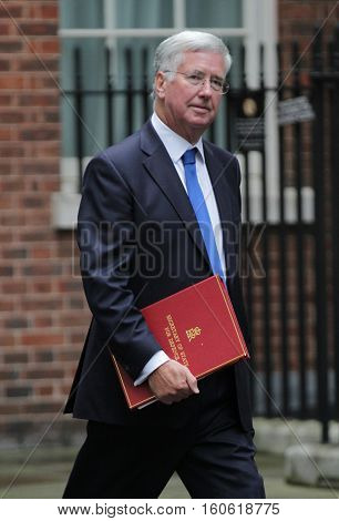 LONDON, UK, 15, 2015: Michael Fallon MP Secretary of State for Defence seen attending the cabinet meeting in Downing Street London