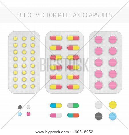 Set of vector pills and capsules. Medical vitamin pharmacy illustration in flat style. Icons of medicament. Tablets diffrent sizes and forms in blisters. Pharmacy and drug symbols.