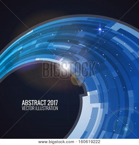 Vector illustration depicting abstract. Round image background for design. Vector object, explosion substance matter. Object with the image of the explosion. Color banner.