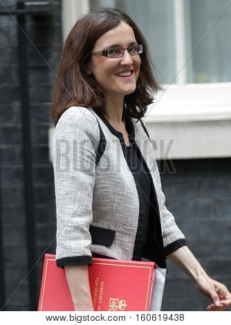 LONDON, UK, SEP 15, 2015: Theresa Villiers MP seen attending the cabinet meeting in Downing Street London