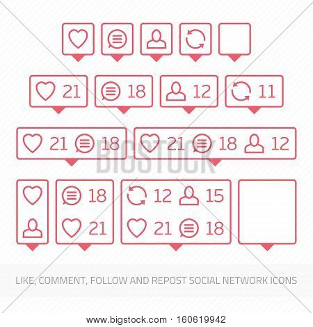 Social network icons pack on white background. Like, comment, follow and repost. Notification Tooltip with heart, user, speech bubble, counter.
