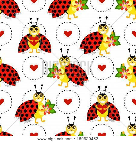 Funny pattern with flowers, hearts, ladybug and circle on a white background.