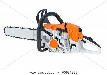 Chainsaw gasoline industry with sharp blade. 3D rendering