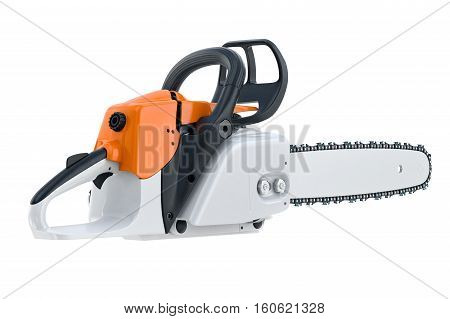 Chainsaw gasoline engine with black plastic handle. 3D rendering