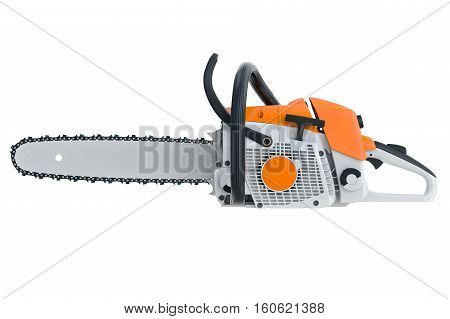 Chainsaw gasoline metal with horizontal saw, side view. 3D rendering