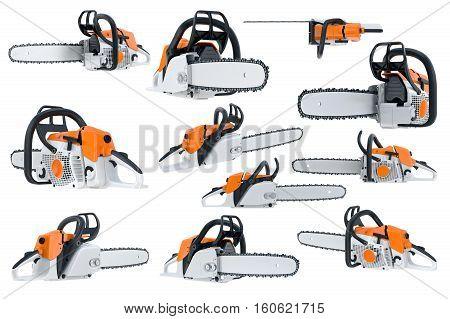 Chainsaw gasoline orange, white and black, modern style set. 3D rendering