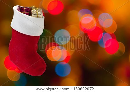 Defocused bokeh lights in boot gifts blur