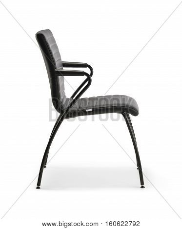 Chair waiting room of black leather with armrests