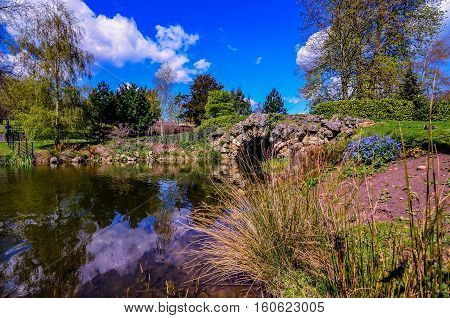 Little bridge in park in Cusworth lake near Doncaster UK