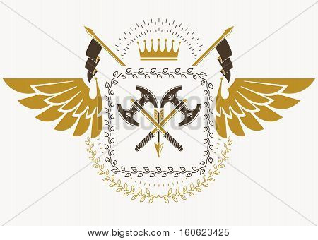 Vintage Heraldry Design Template With Bird Wings, Vector Emblem Created With Royal Crown And Hatchet