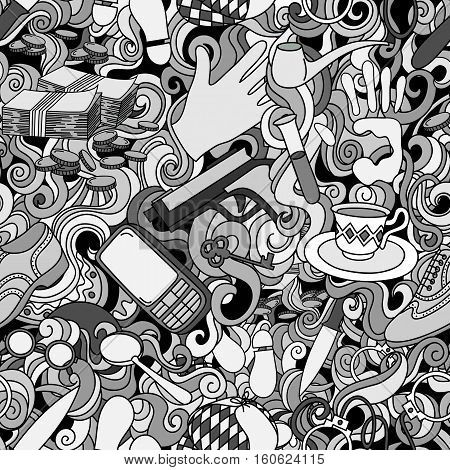 Cartoon cute doodles hand drawn Detective and criminal seamless pattern. black and white detailed with lots of objects background.