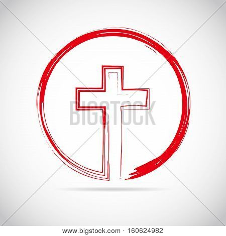 Christian cross icon in the circle. Red christian cross sign isolated on white background. Vector illustration.