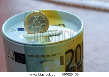 Euro coin on money safe bank for investment. Protection your finance for the future.Profitsafe making money. For business and finance concept.