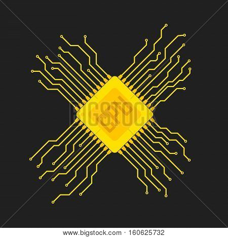 Yellow chip icon in flat design. Simple microchip circuit board. Microcircuit flat sign. Vector illustration.