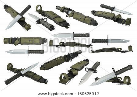 Knife army military with sharp blade and green cover set. 3D rendering