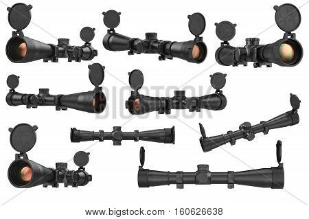 Scope optical sniper rifle black equipment, lens set. 3D rendering