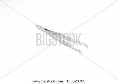 Tweezers Of Manicure Set Isolated On White Background