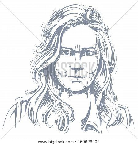 Artistic Hand-drawn Vector Image, Black And White Portrait Of Angry Girl With Wrinkles On Her Face.