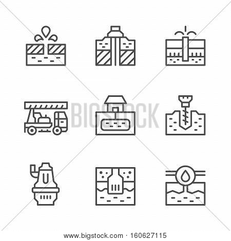 Set line icons of water bore isolated on white. Vector illustration