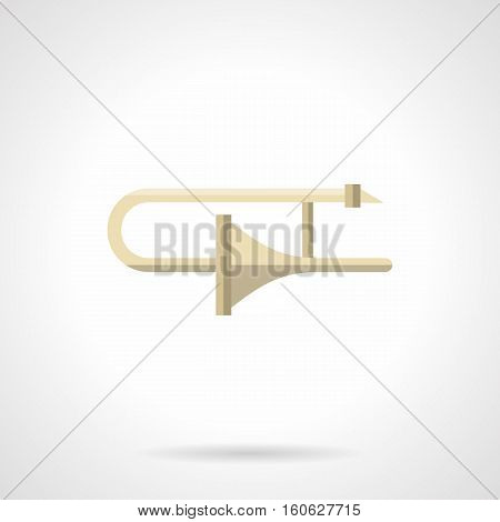 Classic trombone sign. Symbol for repair and adjustment of brass instruments. Music stores and services. Flat color style vector icon.
