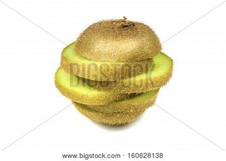 Close up macro kiwi fruit slices cut isolated on white background