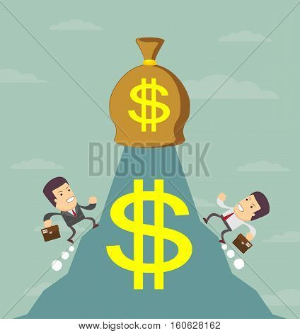 Businessman is runing to get the money , Successful Businessman , Business concept - vector illustration