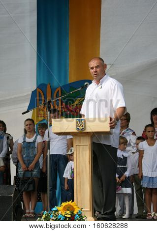 LUTSK UKRAINE - 24 August 2012: People's deputy of Ukraine Ihor Palytsia delivers a speech during the celebration of Independence Day
