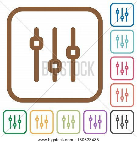 Vertical adjustment simple icons in color rounded square frames on white background