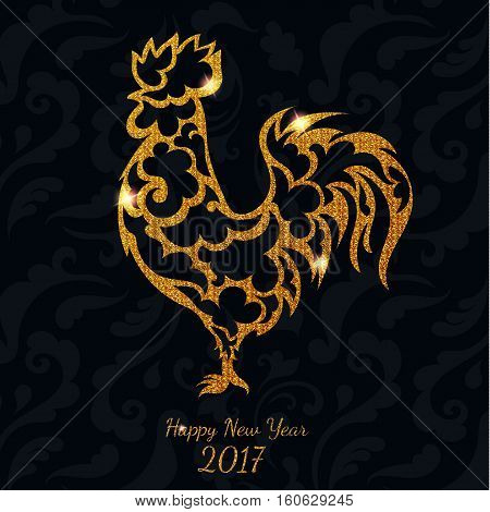 Beautiful gold glitter rooster with letters Happy New Year